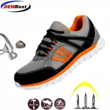 DEWBEST/Мужская Рабочая безопасная обувь со стальным носком; Теплые дышащие мужские повседневные ботинки с защитой от проколов; Страхование труда; Большие размеры 35 46