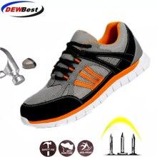 Dewbest homem trabalho sapatos de segurança de aço toe quente respirável botas casuais à prova de punctura sapatos de seguro de trabalho tamanho grande 35 46