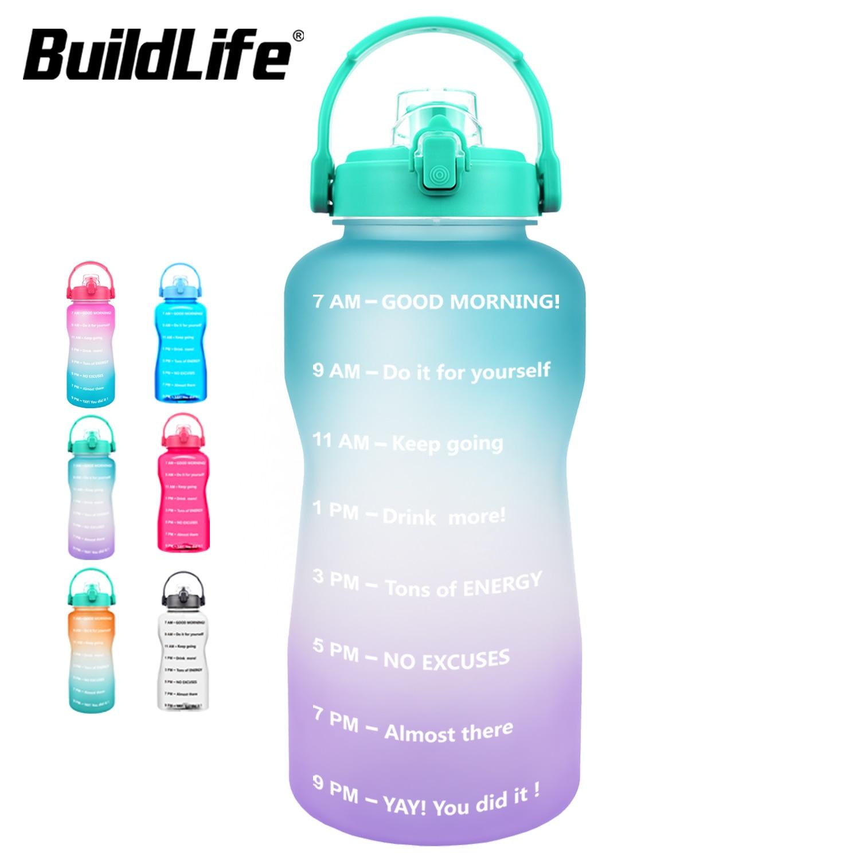 BuildLife 2L 3.8L Tritan бутылки с водой, флип-флоп мотивационные BPA бесплатные спортивные Фитнес кувшины на открытом воздухе тренажерный зал держател...