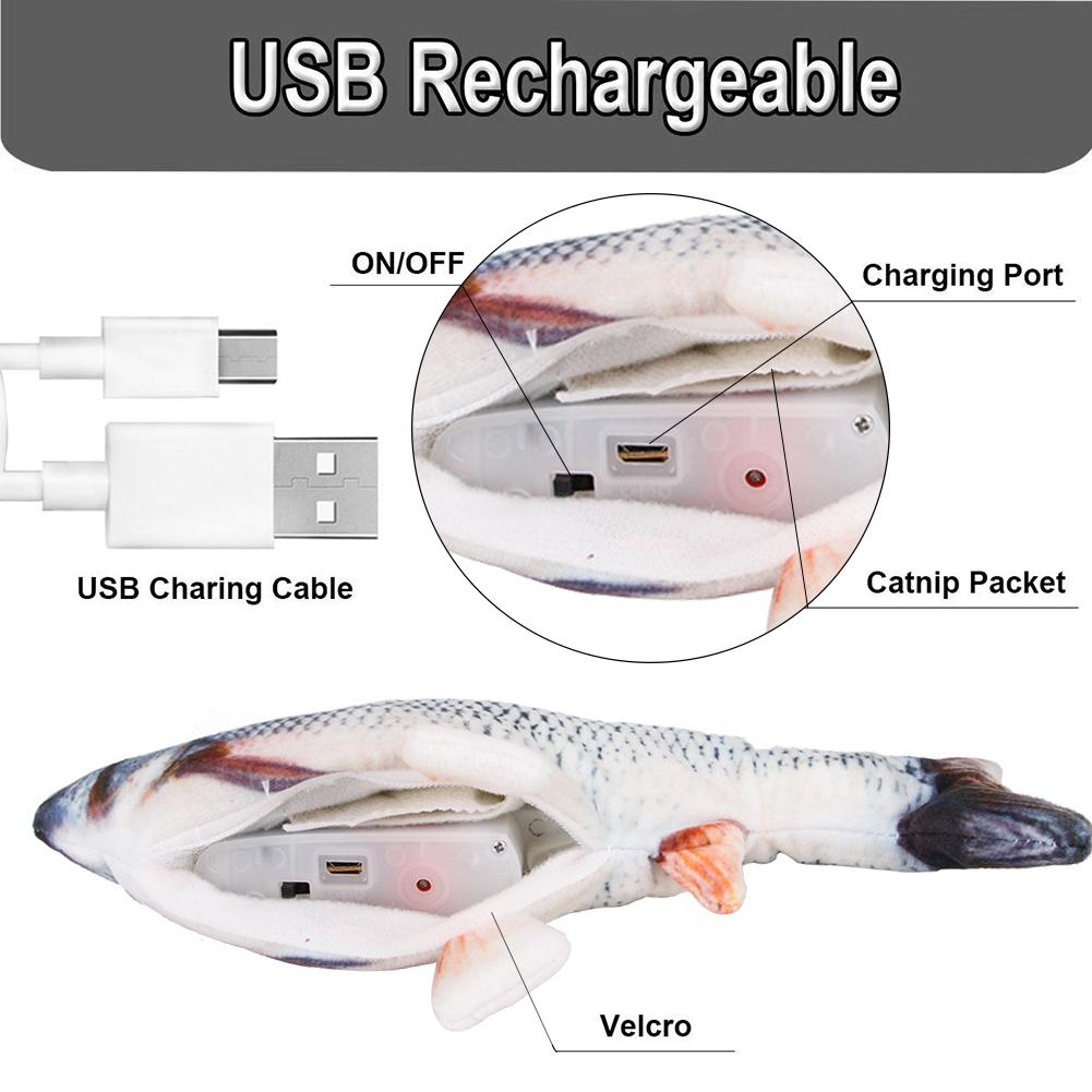30CM Realistic Plush Electric Moving Fish Toy For Cat Interactive Cat Chew Bite Toys For Kitty Kitten Fish Flop Cat Wagging Toys