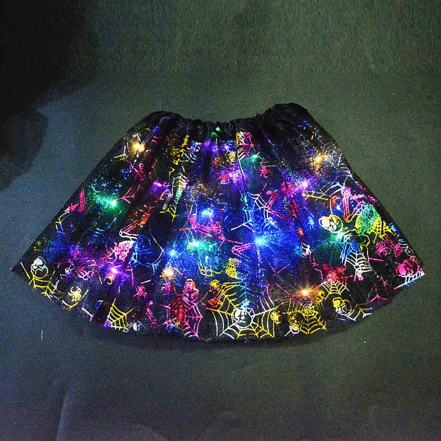 Korkunç korkunç LED parlayan işık up çocuk kız örümcek ağı örümcek ağı kostüm etek Tutu Cosplay karnaval parti cadılar bayramı karnaval