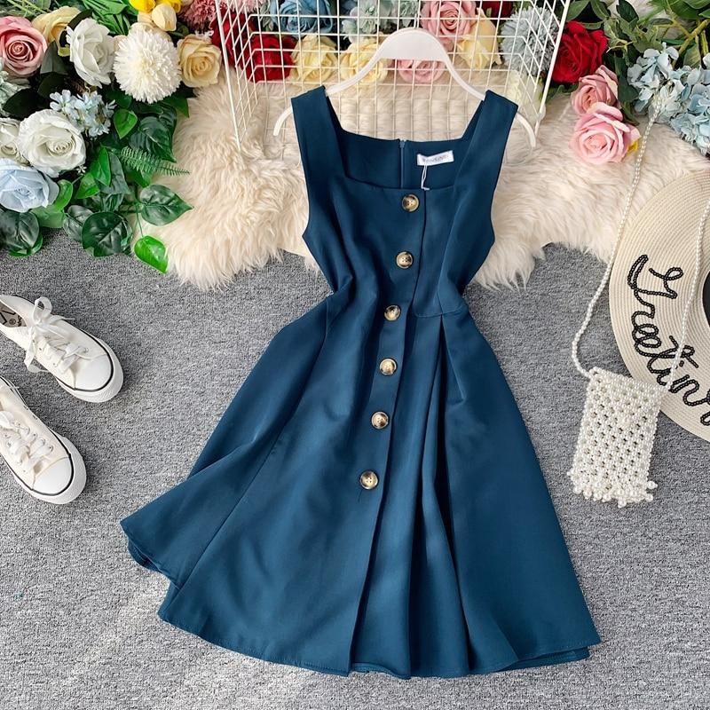 Vintage 2020 Slim Button Summer Autumn Short Dress Vestido De Festa Tank Sundress Casual Party High Waist Women A-Line Vestidos