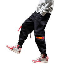 New Harajuku Oversized Cotton Multi-Pockets Fashion Cargo Pants Men Autumn 2019 Hip Hop Streetwear Casual Elastic Trousers Camo multi pockets drawstring cuff camo cargo pants