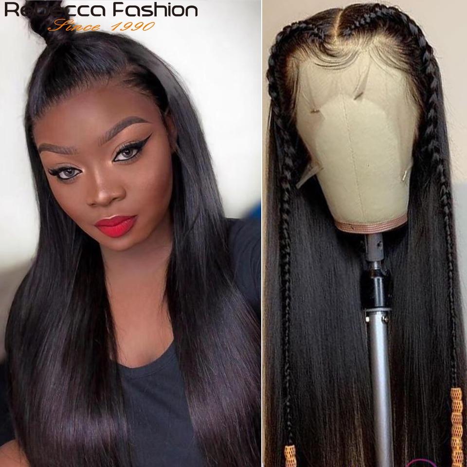 Rebecca em linha reta 360 peruca frontal do laço do cabelo humano parte do fechamento do laço perucas pré arrancadas cabelo humano em linha reta brasileiro peruca dianteira do laço