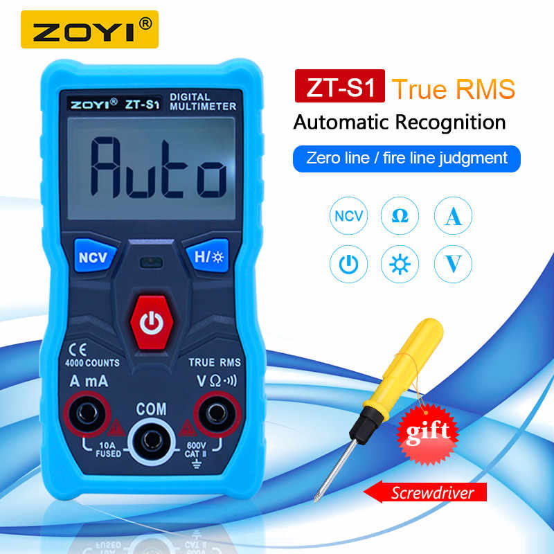 ZOYI ZT-S1 Digitale Multimeter tester autoranging True rms automotriz Mmultimetro met NCV DATA HOLD LCD backlight + Zaklamp