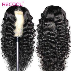 Image 2 - باروكات شعر بشري أمامية من الدانتيل من Recool باروكة واسعة مموجة 180 كثافة 250 باروكة أمامية من الدانتيل 360 باروكة شعر طبيعي مموج مسبقًا