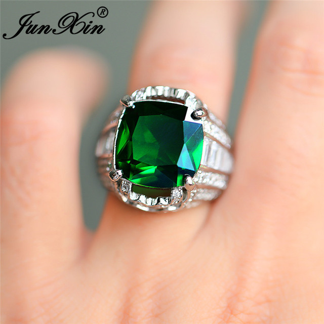 Vintage Geometric Big Green Stone Rings For Men Women 925 Silver Color Boho Party Wedding Bands CZ Engagement Ring Male Jewelry