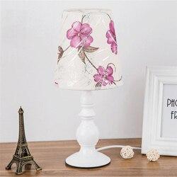 Nowoczesne LED lampy stołowe oświetlenie sypialni oświetlenie do salonu tabeli lampka biurkowa lampy tkaniny klosz lampy metalowy korpus dekoracji wnętrz