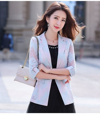 2021 Women Blazer Lace Printed Temperament Slim Suit One Button Notched Office Lady Black White Pink Blue Blazers Plus Size 3xl 4