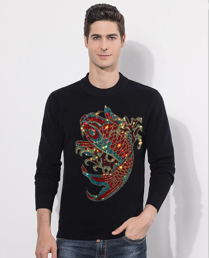 2020 Sweaters Men New Fashion  Diamond Stone Casual O-Neck Slim Cotton Knitted Mens Sweaters Pullovers Men Brand Clothing