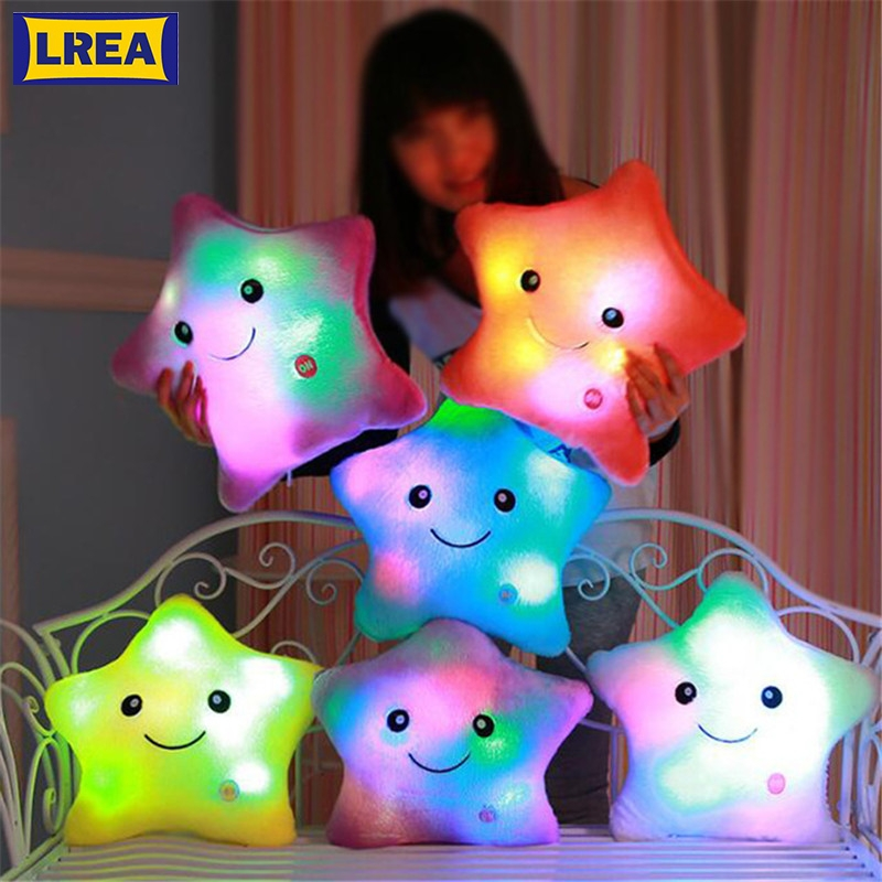 LREA beautiful cojines Colorful Stars Luminous cushion Led Light plush toy pillow Hot sale