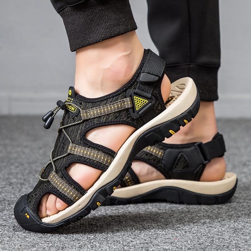 Sandalias de lona de verano para hombre, zapatos de goma para deporte, senderismo, playa, transpirables, informales, 2021