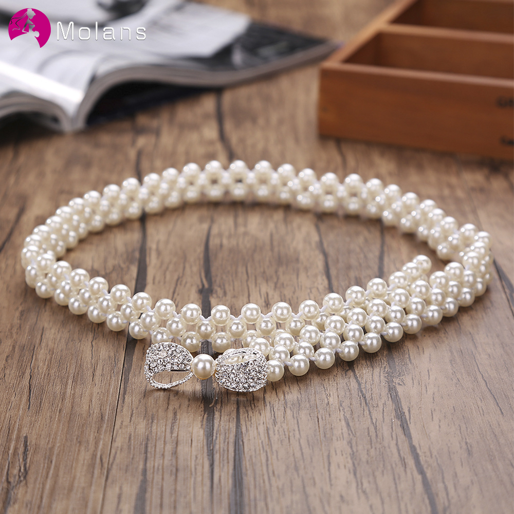 Molans Rhinestone Belts For Women Pearl Belt Waist Belt Elastic Buckle Pearl Chain Belt Female Girls Dress Strap Wedding