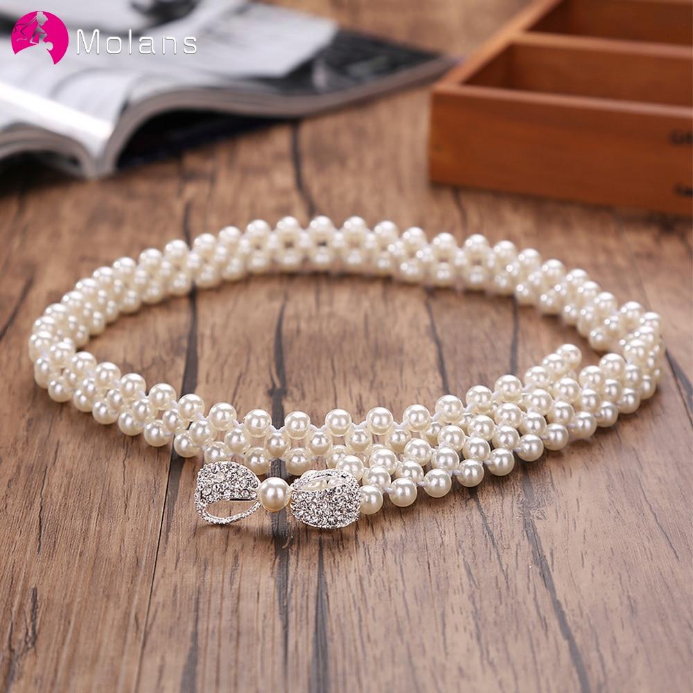 Molans Rhinestone Belts for Women Pearl Belt Waist Belt Elastic Buckle Pearl Chain Belt Female Girls Dress Strap Wedding