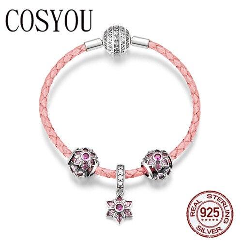 COSYOU mode nouveau 925 en argent Sterling fleurissant fleur de pêche rose CZ fermoir en cuir bracelets pour femme bijoux en argent SCB816