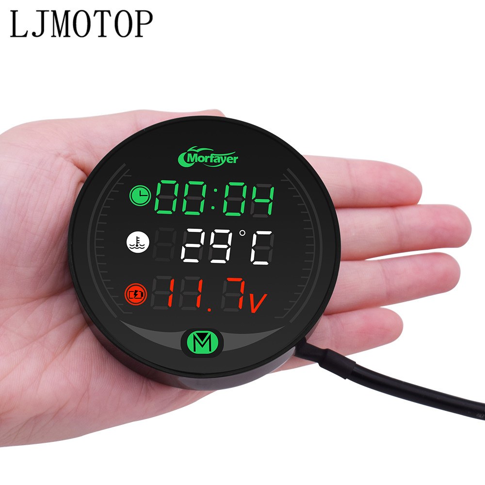 For Z900 ER6N Z800 Z750 Z1000SX <font><b>CRF</b></font> <font><b>450</b></font> <font><b>CRF</b></font> XR XL 85 CBR600RR Motorcycle Voltmeter Clock Water Temperature Digital Display Meter image