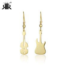 RIR Creative Guitar Musical Earrings Small Classical Rock Music Style Overhang Player Gifts