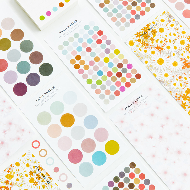 3 Pcs/lot Fresh Colorful Dots Flowers Basic Paper Sticker Scrapbooking DIY Bullet Journal Travel Diary Sticker Stationery