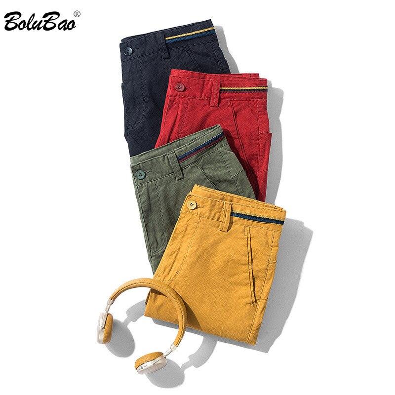 BOLUBAO Summer New Men Casual Shorts Men's Slim Cotton Knee Length Shorts Quality Brand Outdoor Beach Shorts Male (No Belt)