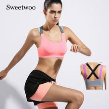 Sport Bra Women Running T-shirt Gym Shirt Stitching Color Yoga Top Sports Fitness Tennis