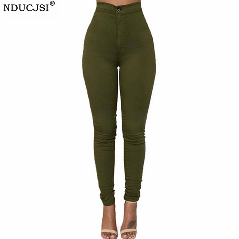 NDUCJSI High Waist Trousers Classic Army Green Plus Size Jeans Skinny Denim Jeans Women Pencil Pants Casual Stretch Denim Pants