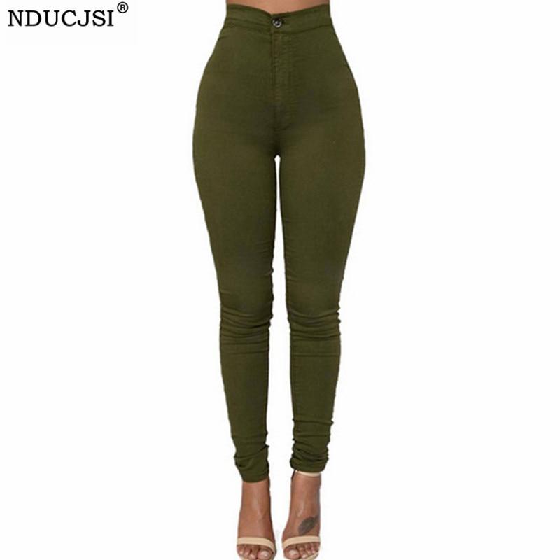NDUCJSI High Waist Trousers Classic Army Green Plus Size Jeans Skinny Denim Jeans Women Pencil Pants Casual Stretch Denim Pants