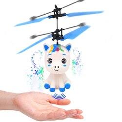 Latający jednorożec zabawki z LED latarka kontrolowane jednorożec zabawka-helikopter LED światło podczerwone indukcyjna Drone dla dzieci zabawka latająca