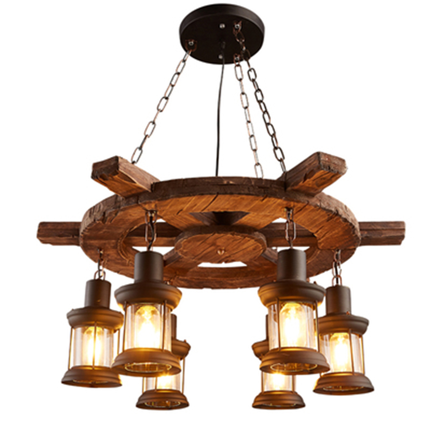 Vintage Industrial Loft LED Pendant Lights Nordic Retro Solid Wood Pendant Lamps Living Roon Restaurant Cafe Bar Decor Hanglamp
