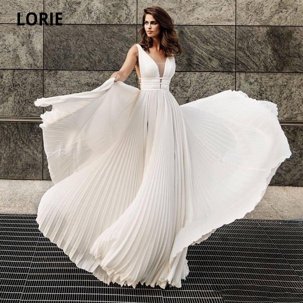 LORIE Ivory Chiffon Wedding Dresses Beach Boho Bridal Gown Sexy Deep V-neck Sleeveless Fleat Open Back Princess Dresses 2020