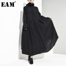[EAM] Women Black Pleated Asymmetrical Long Dress New Stand Collar Long Sleeve Loose Fit Fashion Tide Spring Autumn 2020 JI0980