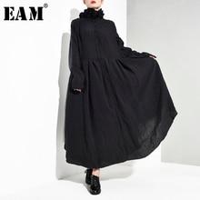 [EAM] Women Black Pleated Asymmetrical Long Dress New Stand Collar Long Sleeve Loose Fit Fashion Tide Spring Autumn 2020 JI0980