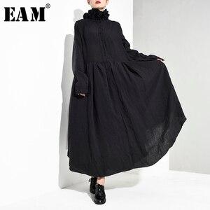 Image 1 - [EAM] vestido largo negro plisado asimétrico con cuello alto nueva manga larga corte holgado moda tendencia primavera otoño 2020 JI0980