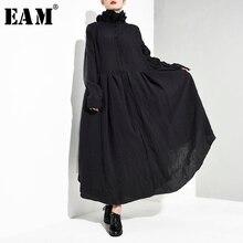 [Eam] 女性黒プリーツ非対称ロングドレス新スタンドカラー長袖ルーズフィットファッションタイド春秋2020 JI0980