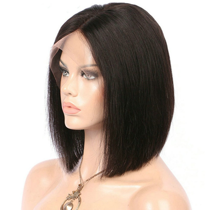 MRSHAIR 13*4 Short Lace Front Bob Wig Brazilian Human Hair Remy Straight Lace Wigs For Black Women