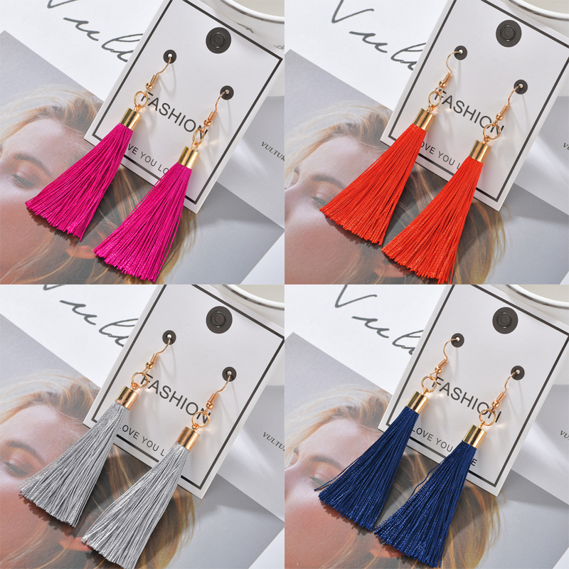 Hbfb02c71236a42d7911378a6833191c11 - Bohemian Heart Tassel Long Drop Earrings BOHO Pink Blue Silk Fabric Design Dangle Earrings For Women Jewelry Gift Christmas