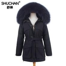 Shuchan 2019 Winter Womens Down Coat with Real Fur Raccoon Collar 90% White Duck Thick Demi-season Jacket
