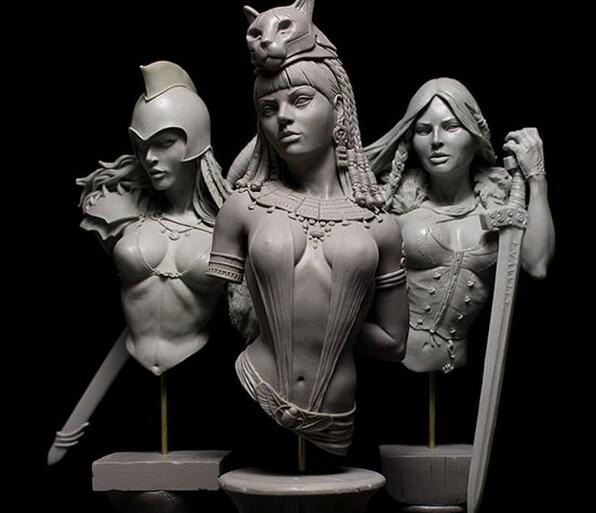 1/10 Ancient Woman Warrior Bust   (NO  BASE ) INCLUDE 3   Resin Figure Model Kits Miniature Gk Unassembly Unpainted
