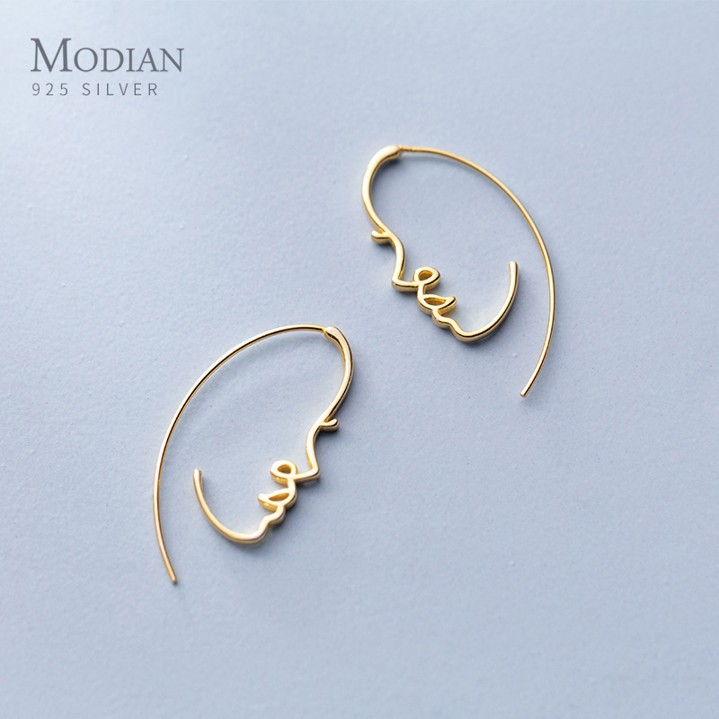 Modian Exquisite Stylish Geometric Face Design Drop Earrings 925 Sterling Silver Unique Dangle Earring For Women Fine Jewelry