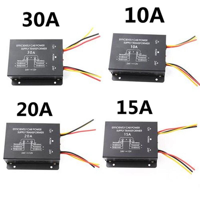 Transformateur abaisseur d'alimentation de voiture convertisseur 24V à 12V 10A 15A 20A 30A sortie avec puissance mémoire haute à basse onduleur