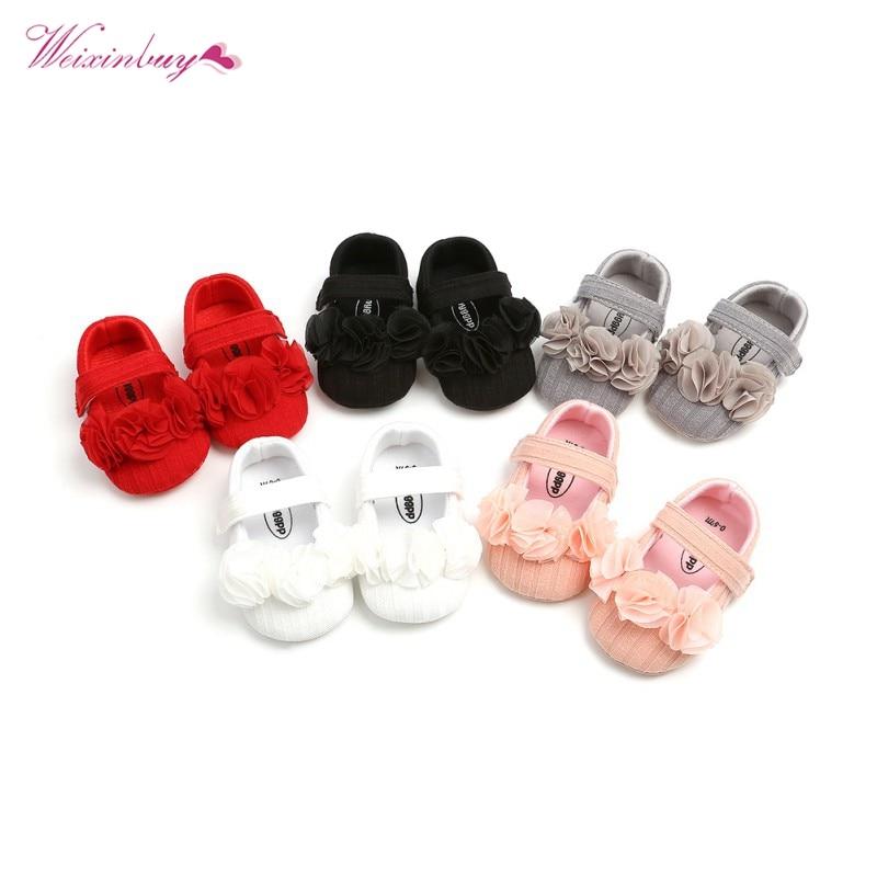 US Flower Toddler Infant Newborn Prewalker Baby Kids Shoes Anti-slip Soft Sole