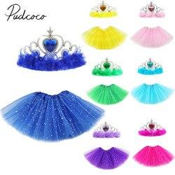 2020 bebê roupas de verão da menina do bebê princesa tule tutu saia ballet dança festa mini vestido com coroa foto adereços 1-3t