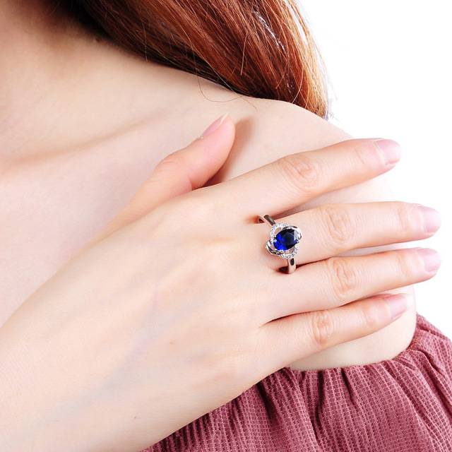 Women's 925 Sterling Silver Ring with Blue Sapphire