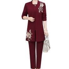 Autumn Women Elegant 3 Pieces Suits Sets Dark Red Navy Blue Caramel Flower Embroidery Outfits Ensemble Femme PCS Suit Clothes