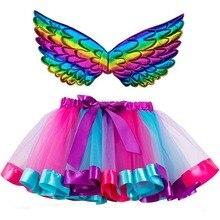 Tutu Girl Skirts Rainbow Colorful Kids Mini Princess Children Summer Send-Wings Party