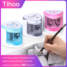 Tenwin Colors Stationery Automatic Electric Pencil Sharpener Cute Mechanical Blade Container Tenwin Battery for Kids Heavy Duty tenwin 8006 new high quality automatic and electric pencil sharpener one hole plug in use safety for kids