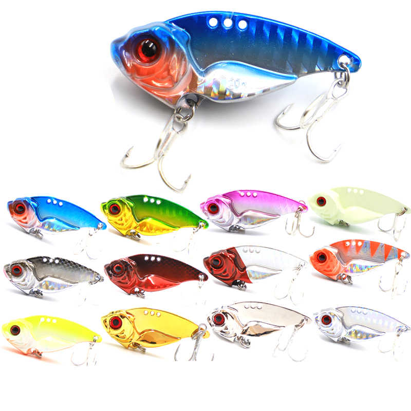 Wokotip 3D Eyes Metal Vib Lure 7/10/15/20g 3.6/4/4.6/5.1cm Sinking Vibration Baits Artificial Bass Pike Perch Lure with 4x hooks