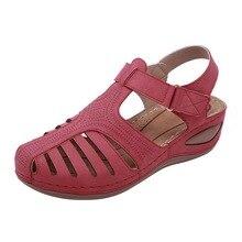 WENYUJH Mujer Sandalias verano cuero hecho a mano señoras zapato cómodo madre Sandalias Mujer verano Zapatos de talla grande 45 sandalias