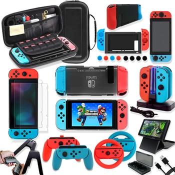 Oyun aksesuarları Nintendo Switch səyahət daşıyan çanta qoruyucu örtük doldurma ekranı qoruyucu kassa kart qutusu üçün dəst