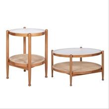 Кофейный столик из массива дерева в скандинавском стиле, современный минималистичный креативный стеклянный круглый Балконный угловой сто...
