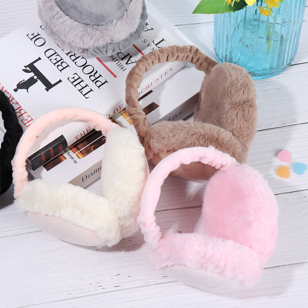 Adjustable Warm Faux Fur Earmuff Women Headband Earlap Foldable Winter Ear Protector Ear Warmer Full Surround Earmuffs